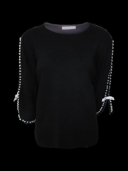 Perlenbesetzer Strickpulli mit offenem Arm