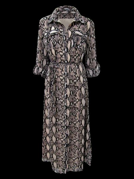 Maxi Kleid mit Gürtel Schlangendruck