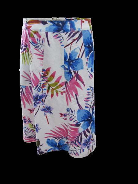 Leinen Blumenrock mit seitlichen Taschen im pink/blauen Hawaii Druck